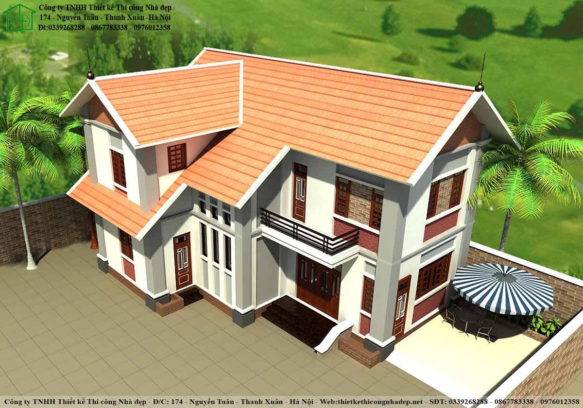 Mặt nghiêng biệt thự 2 tầng mái thái với thiết kế mái tinh tế