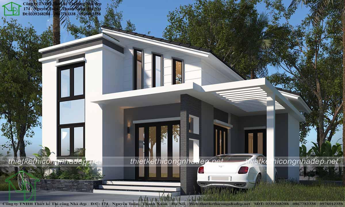 Căn nhà hiện đại khi nhìn theo góc nghiêng thể hiện tính hiện đại
