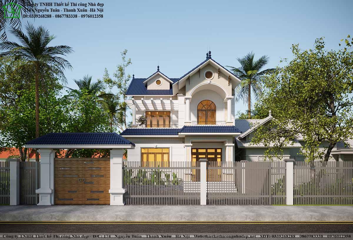 Hình ảnh nhìn từ mặt tiền biệt thự mái thái hiện đại