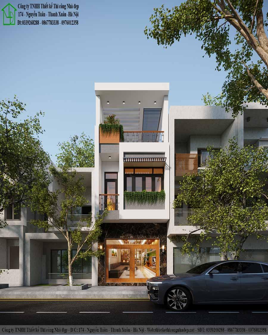 Mặt tiền mẫu nhà phố 3 tầng 4x18m hiện đại
