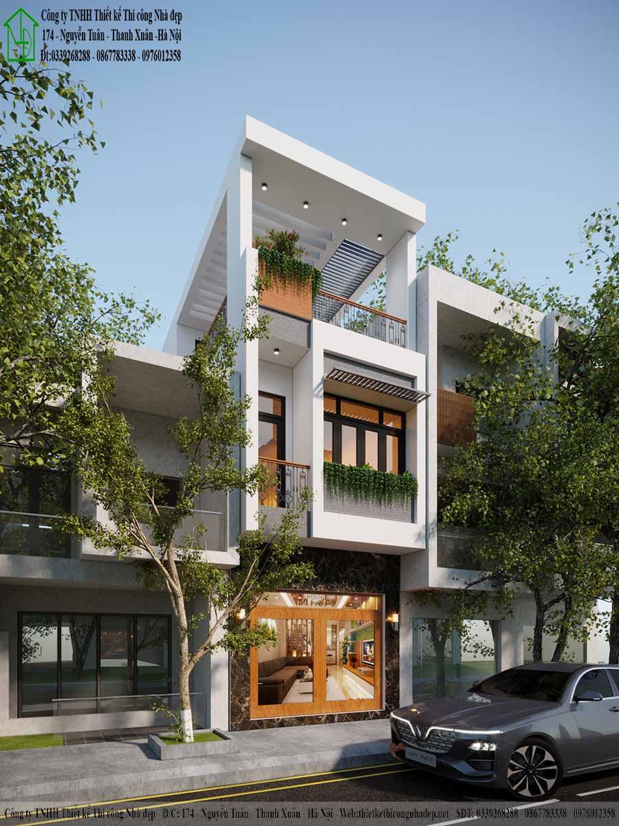 Màu sơn trắng tinh khôi giúp căn nhà khang trang, bề thế