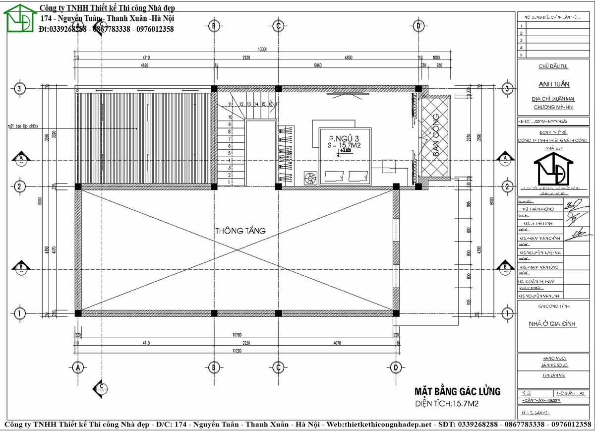 Tầng lửng mẫu nhà cấp 4 8x13m với không gian thông tầng thoáng mát