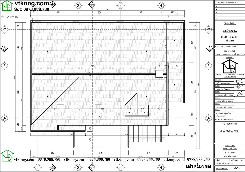 Mặt bằng mái Nhà Cấp 4 Mái Thái 11x14m 3 Phòng Ngủ Nc48