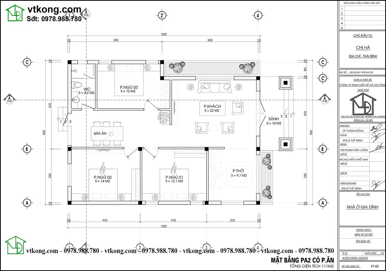 Mặt bằng nội thất nhà cấp 4 có 3 phòng ngủ 1 phòng thờ đẹp tại Thái Bình NC483