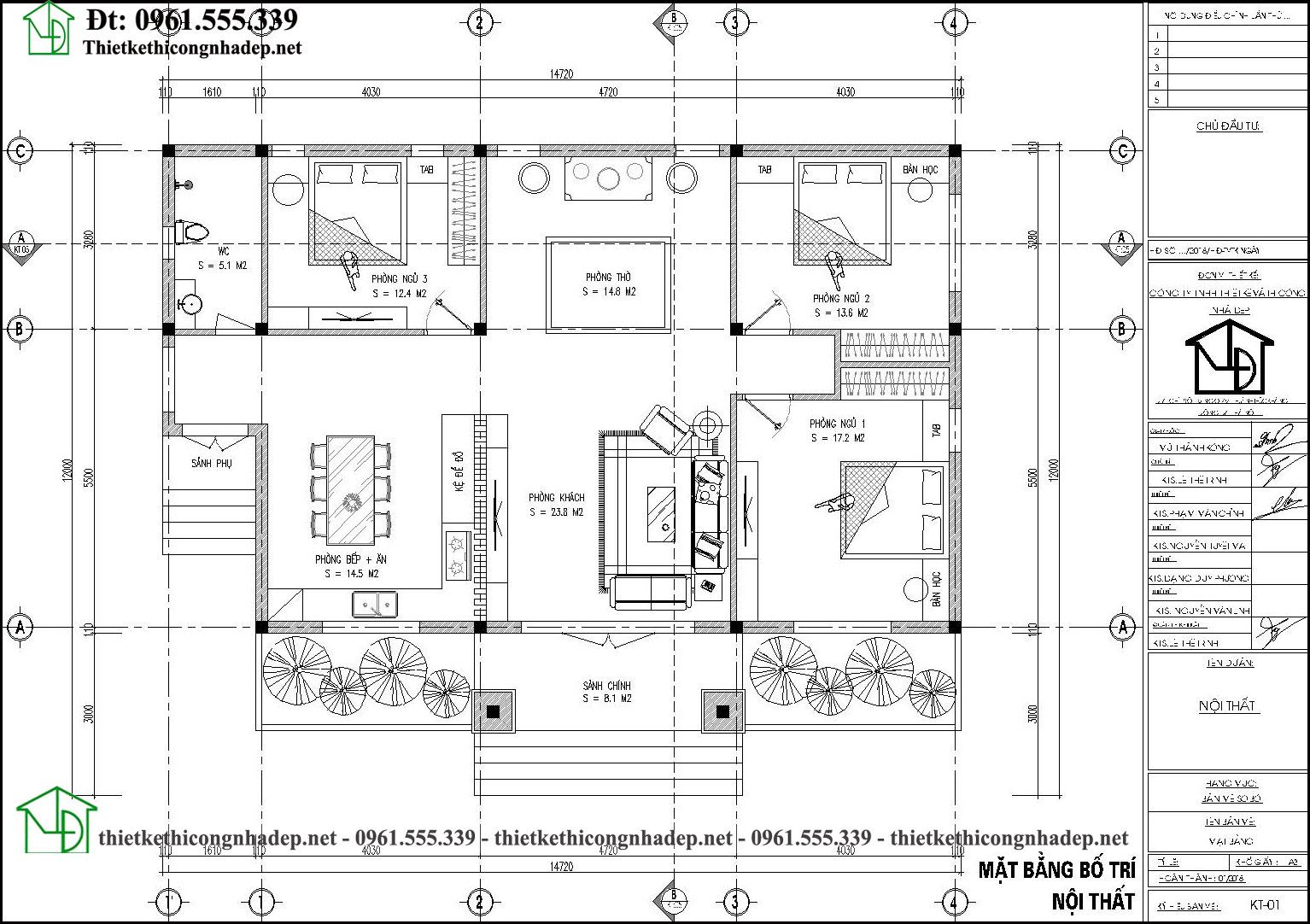 Mặt bằng bố trí nội thất nhà cấp 4 mái nhật 15x9m có 3 phòng ngủ Nc478