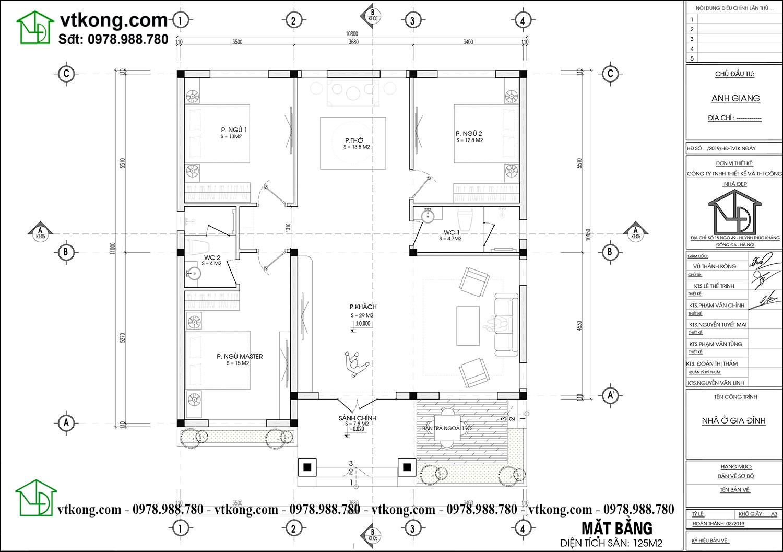 Mặt bằng bố trí nội thất nhà cấp 4 mái thái đẹp Nc475