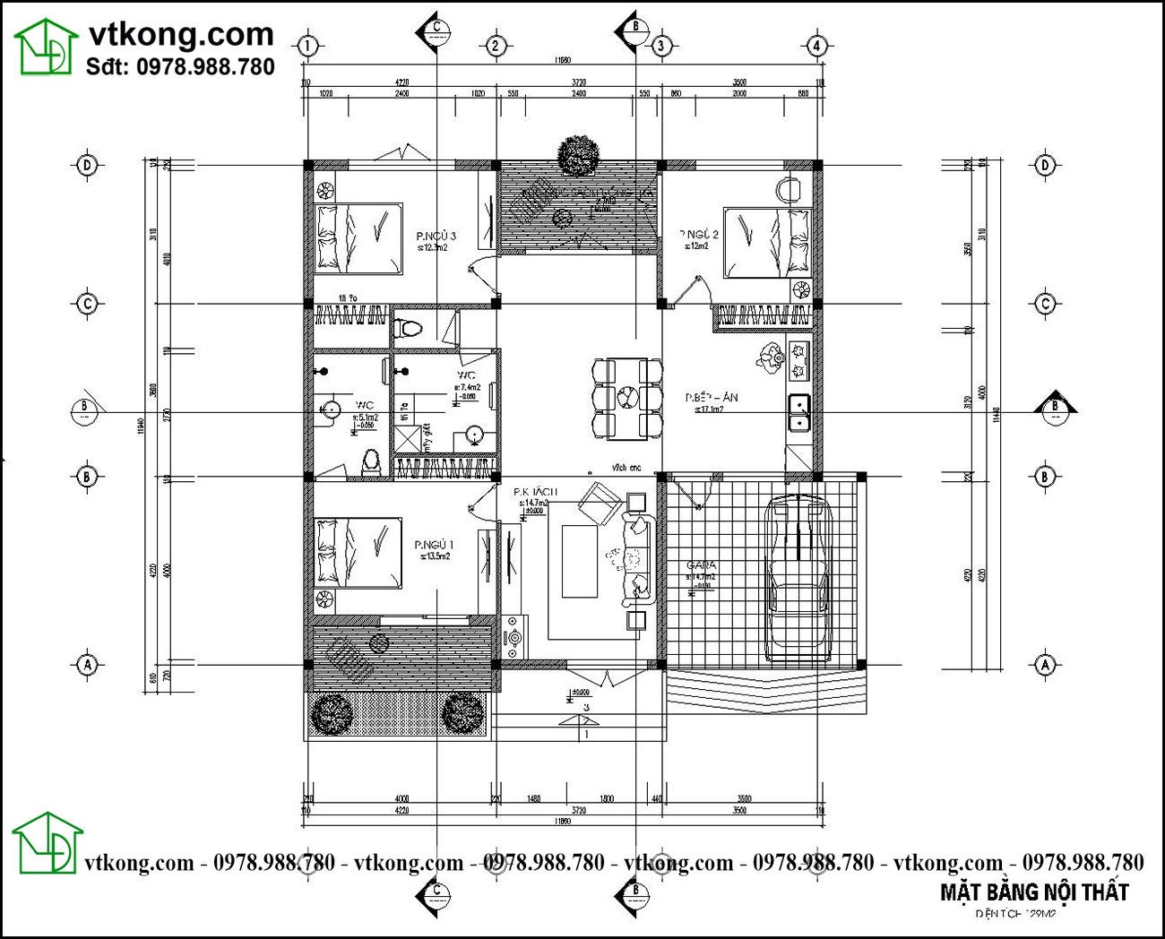 Thiết Kế Nhà Cấp 4 Kiểu Nhật 12x12m Có 3 Phòng Ngủ Nc474