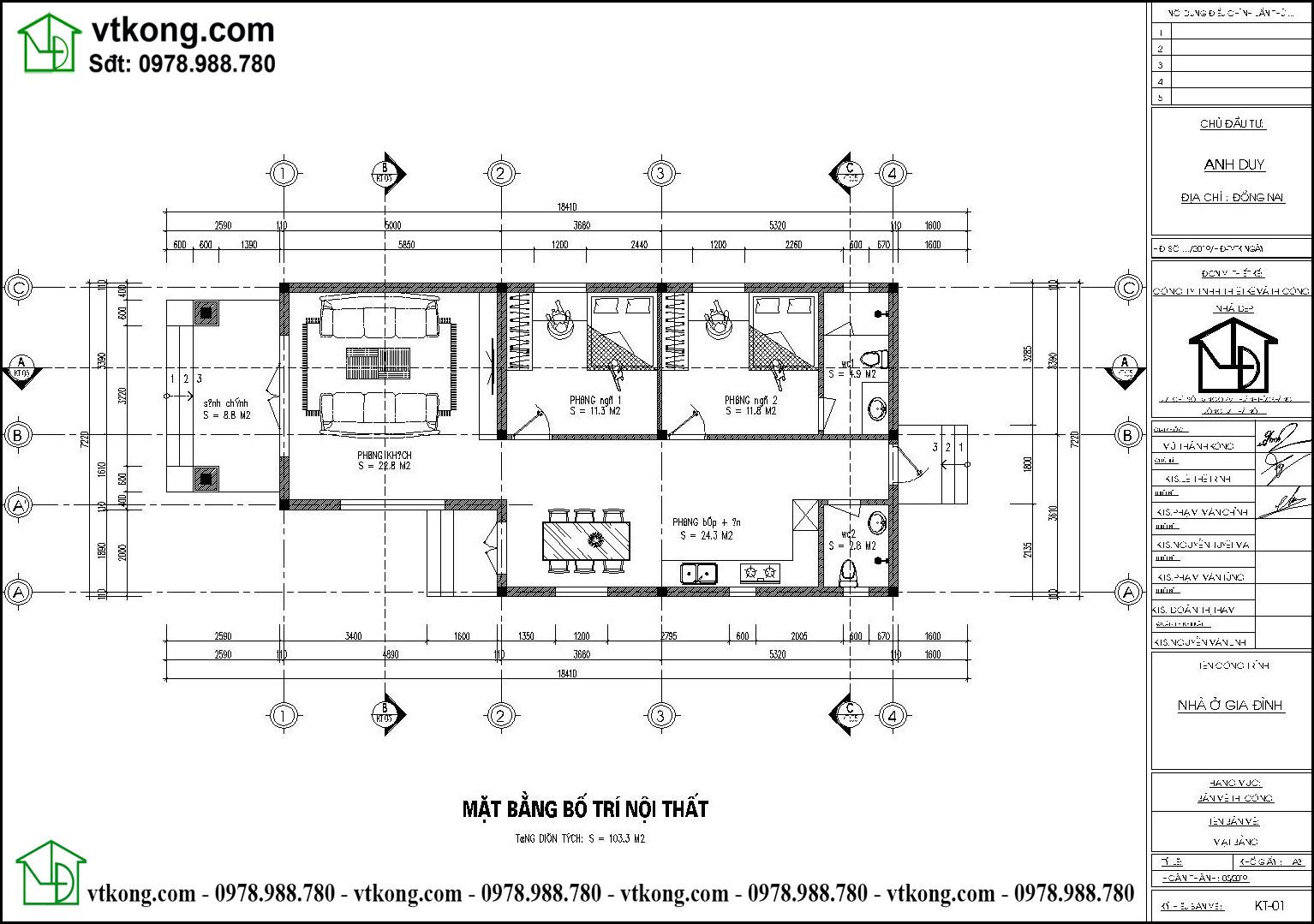 Thiết Kế Nhà Cấp 4 Mái Thái 7x18m đẹp Tại Ninh Bình Nc472