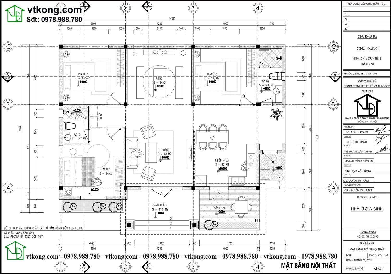 Mặt bằng bố trí nội thất Nhà Cấp 4 Mái Thái 11x14m 3 Phòng Ngủ Tại Đồng Nai Nc480