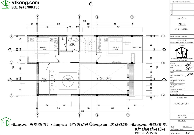 Thiêt Kế Nhà Cấp 4 Gác Lửng 8x12m Tại Nam Định Nc476
