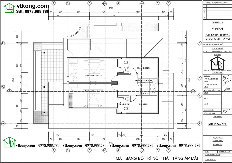 Mặt bằng bố trí nội thất tầng áp mái nhà cấp 4 có tầng áp mái