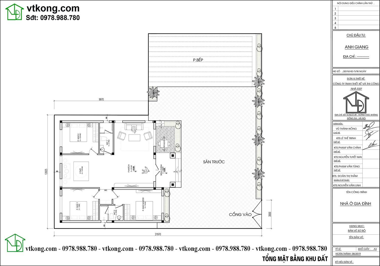 Mặt bằng tổng thể mẫu nhà cấp 4 mái thái 10x11m đẹp Nc475