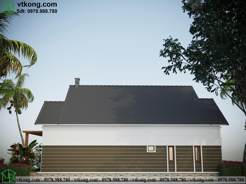 Mặt sau nhà cấp 4 mái thái 12x16m NC486