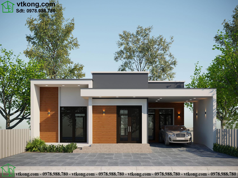 Thiết kế nhà cấp 4 mái bằng kiểu nhật đẹp NC474