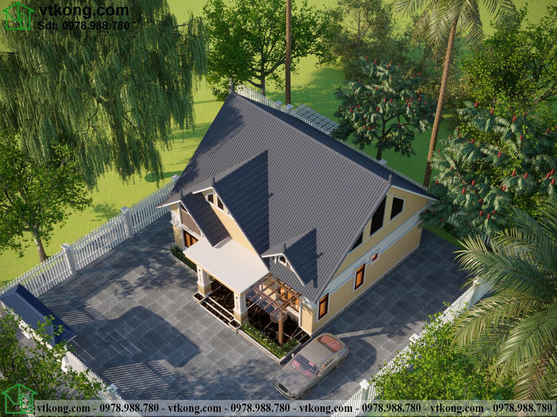 Phối cảnh tổng thể nhà cấp 4 mái thái đẹp Nc475