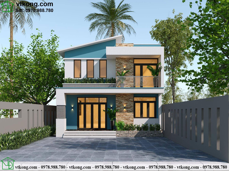 Mẫu thiết kế nhà cấp 4 có gác lửng đẹp tại Nam Định NC476