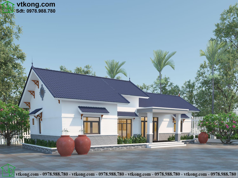 Mẫu thiết kế nhà cấp 4 mái thái hiện đại 20x8m NC473
