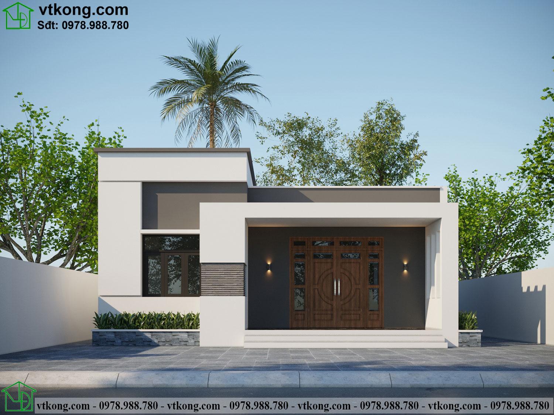 Thiết kế thi công nhà cấp 4 mái bằng đẹp 10x16m NC485