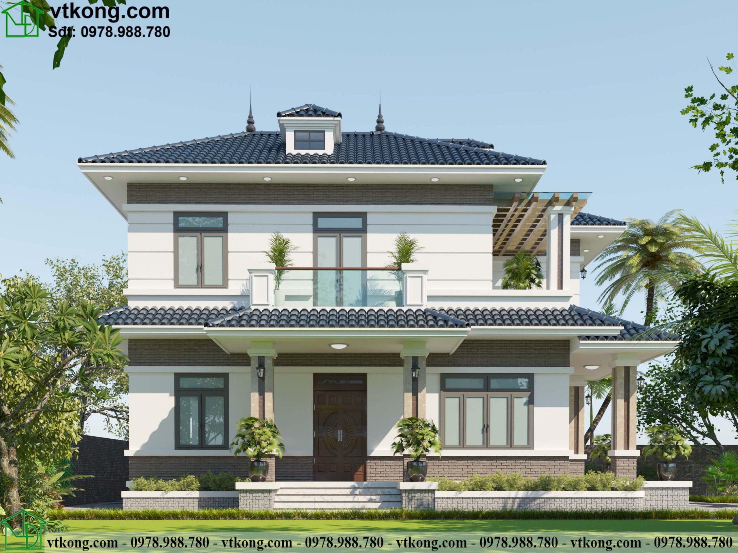 Mẫu thiết kế biệt thự 2 tầng 11x14m mái Nhật có sân vườn BT2T64 2