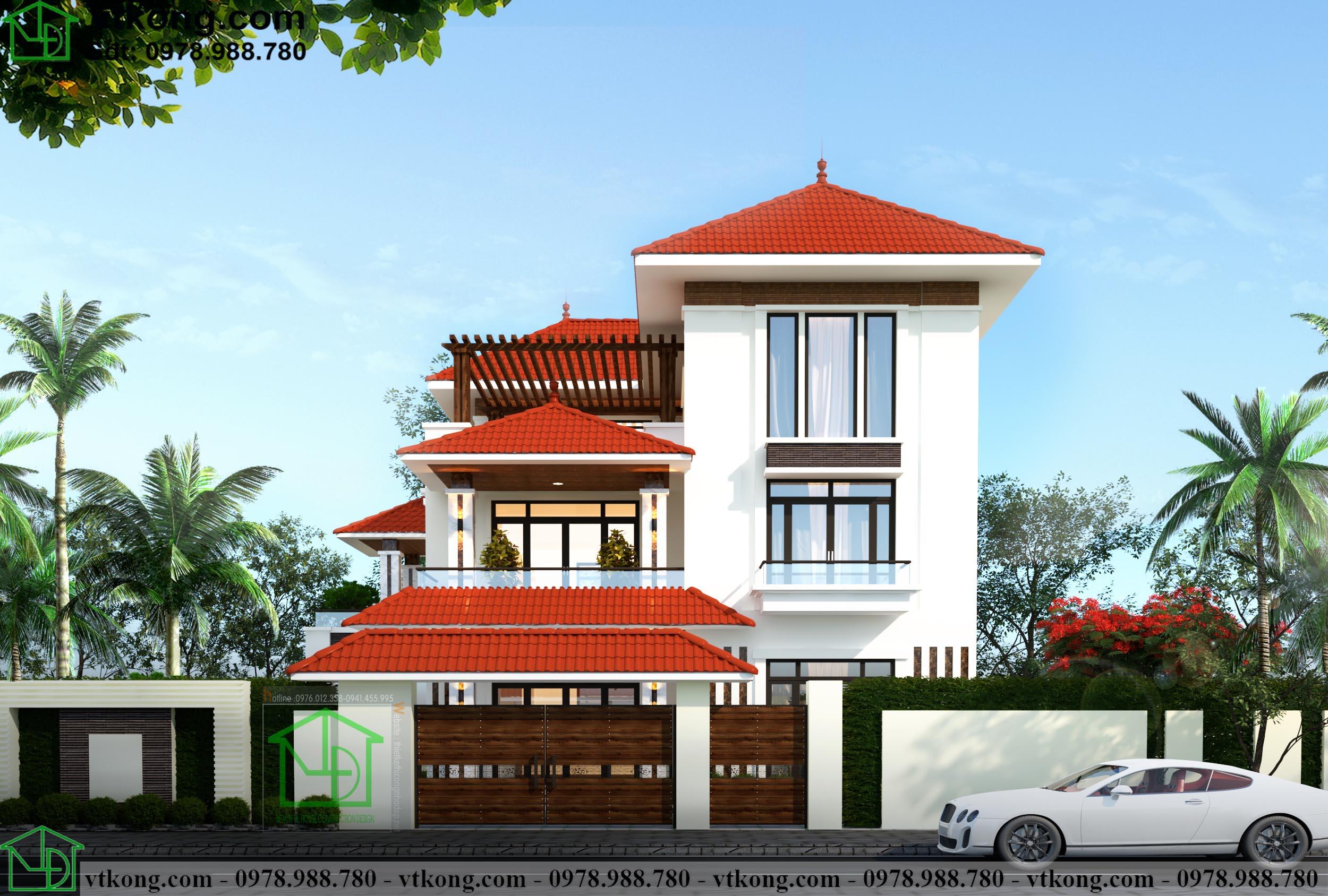 Thiết kế biệt thự 3 tầng đẹp hiện đại 15x15m BT3T008 1