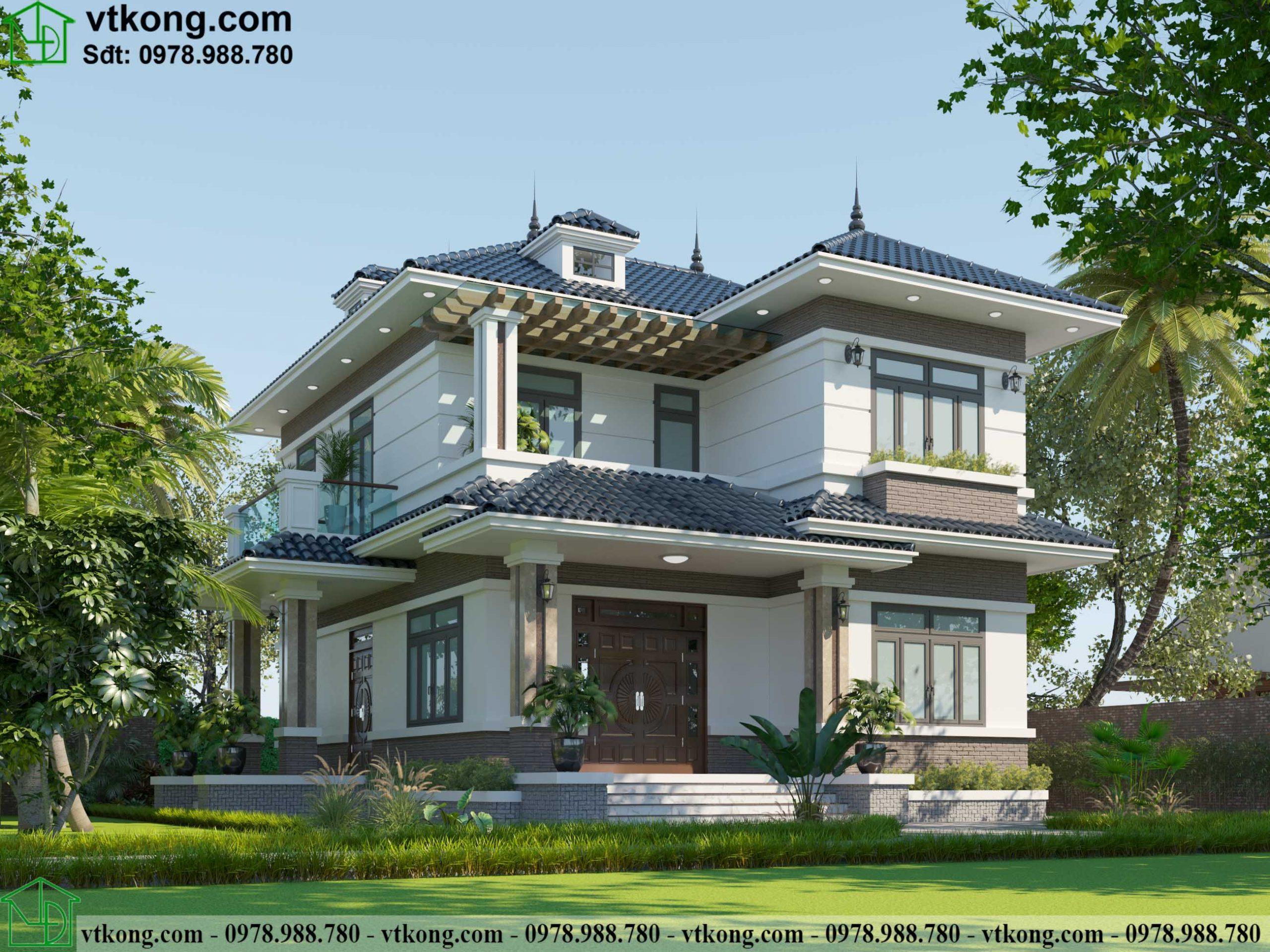 Mẫu thiết kế biệt thự 2 tầng 11x14m mái Nhật có sân vườn BT2T64 1