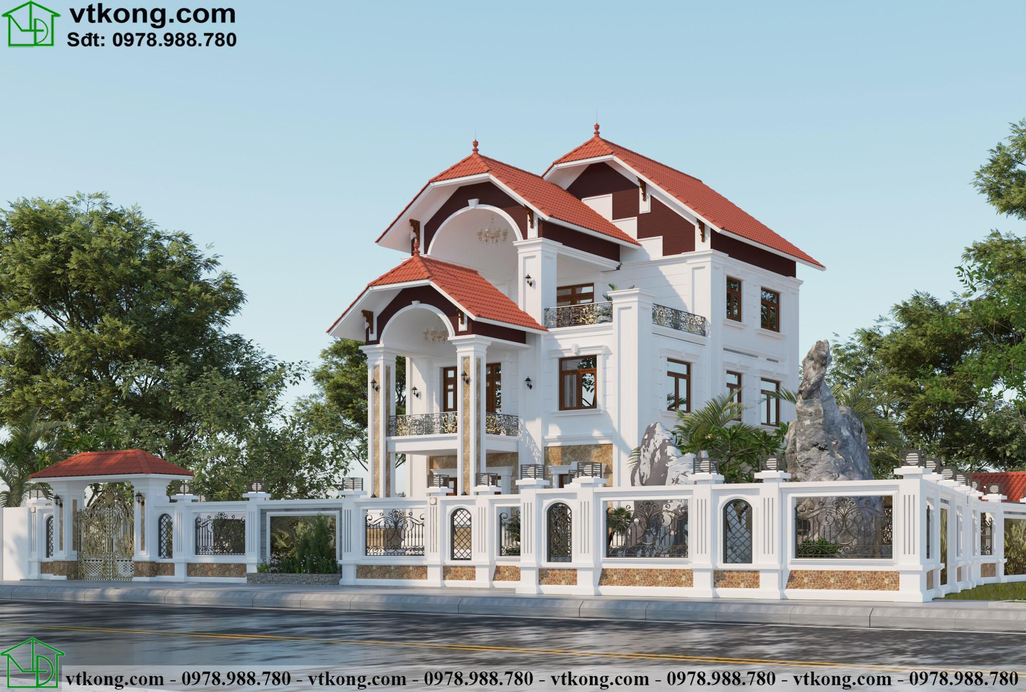 biệt thự tân cổ điển 3 tầng mặt tiền 8m