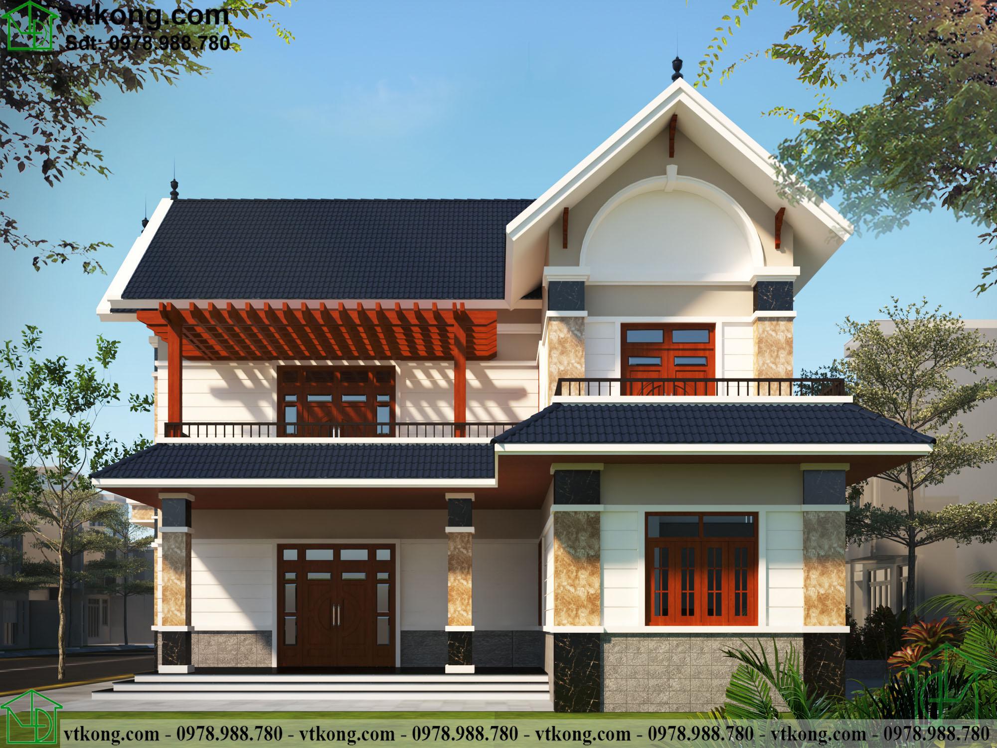 Mẫu thiết kế biệt thự 2 tầng chữ L 14x16m đẹp BT2T61 2