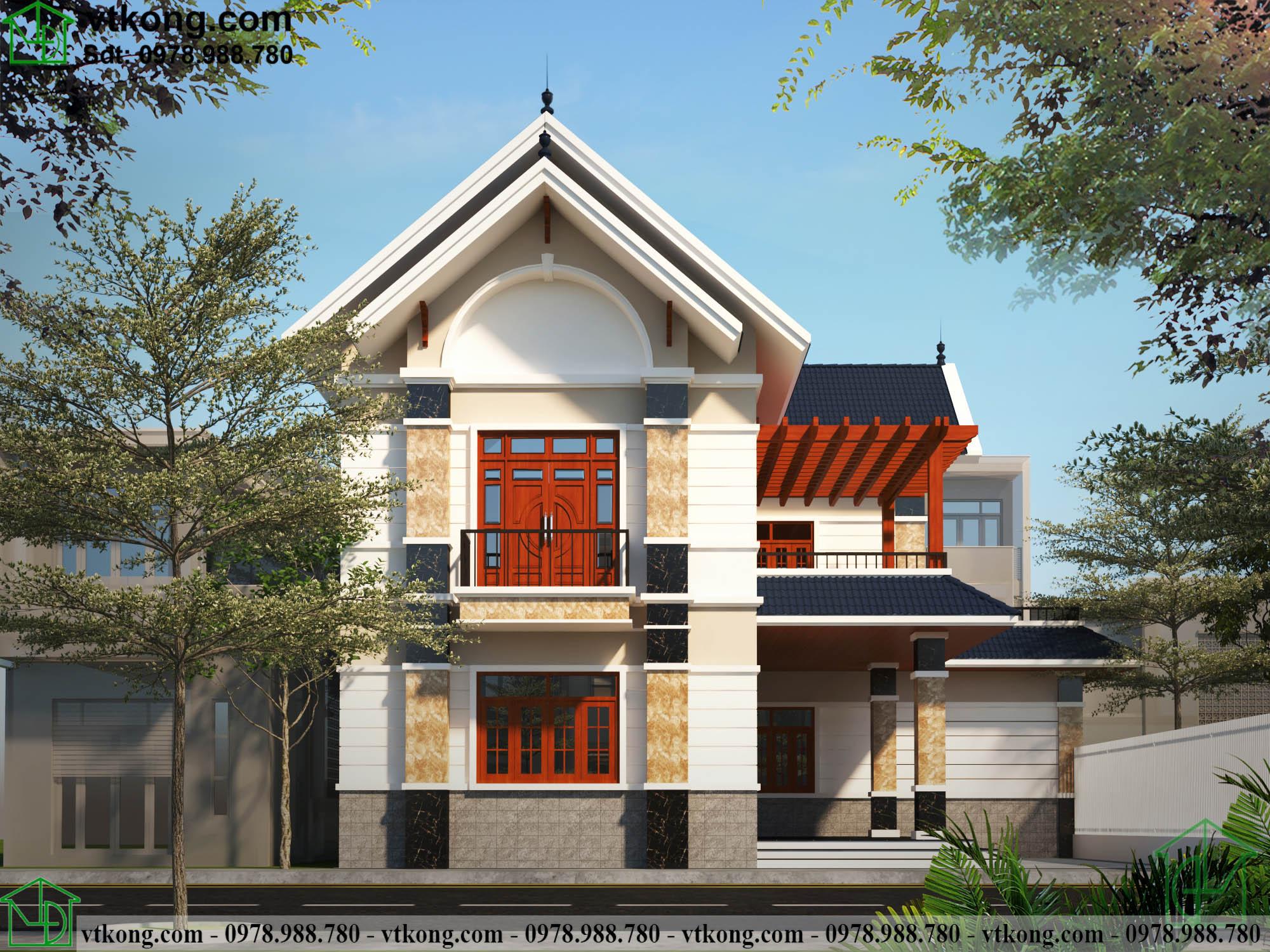 Mẫu thiết kế biệt thự 2 tầng chữ L diện tích 14x16m
