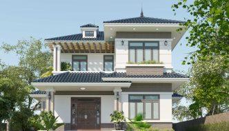 Mẫu thiết kế biệt thự 2 tầng mái Nhật có sân vườn 11x14m BT2T64