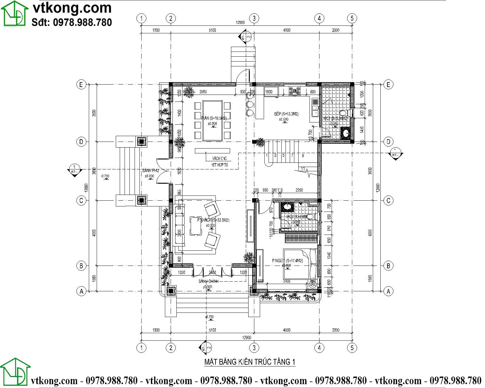 Mẫu thiết kế biệt thự 2 tầng 11x14m mái Nhật có sân vườn BT2T64 4
