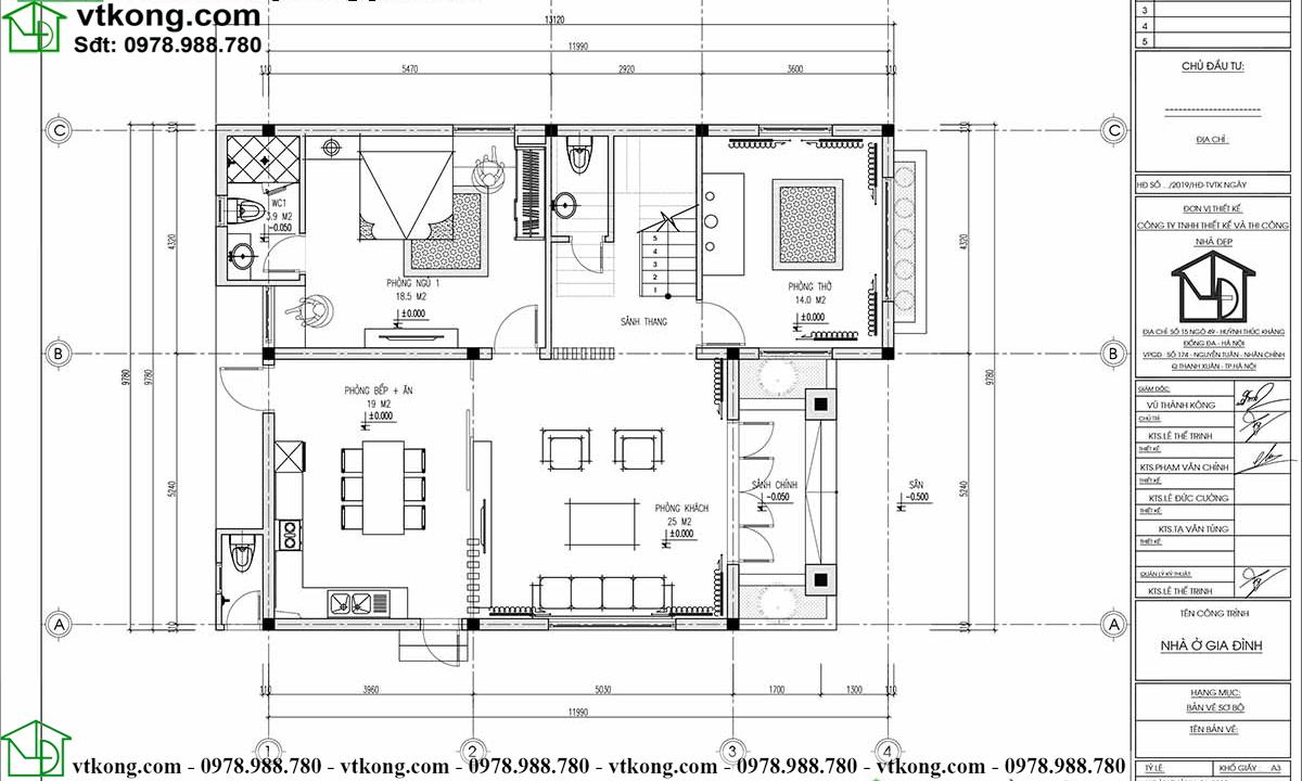 Mẫu biệt thự 3 tầng 10x13m mái Nhật đẹp BT3T009 3