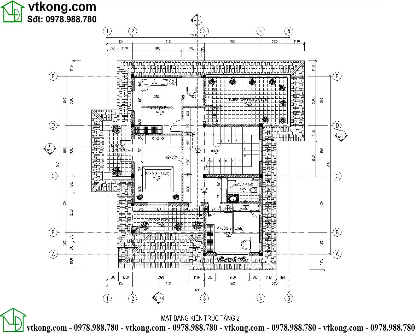 Mẫu thiết kế biệt thự 2 tầng 11x14m mái Nhật có sân vườn BT2T64 5