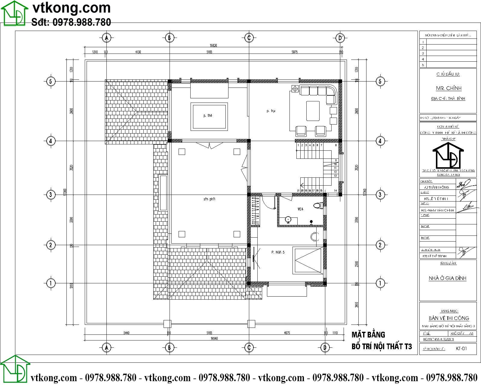 Thiết kế biệt thự 3 tầng đẹp hiện đại 15x15m BT3T008 5