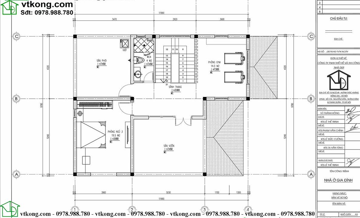Mẫu biệt thự 3 tầng 10x13m mái Nhật đẹp BT3T009 5