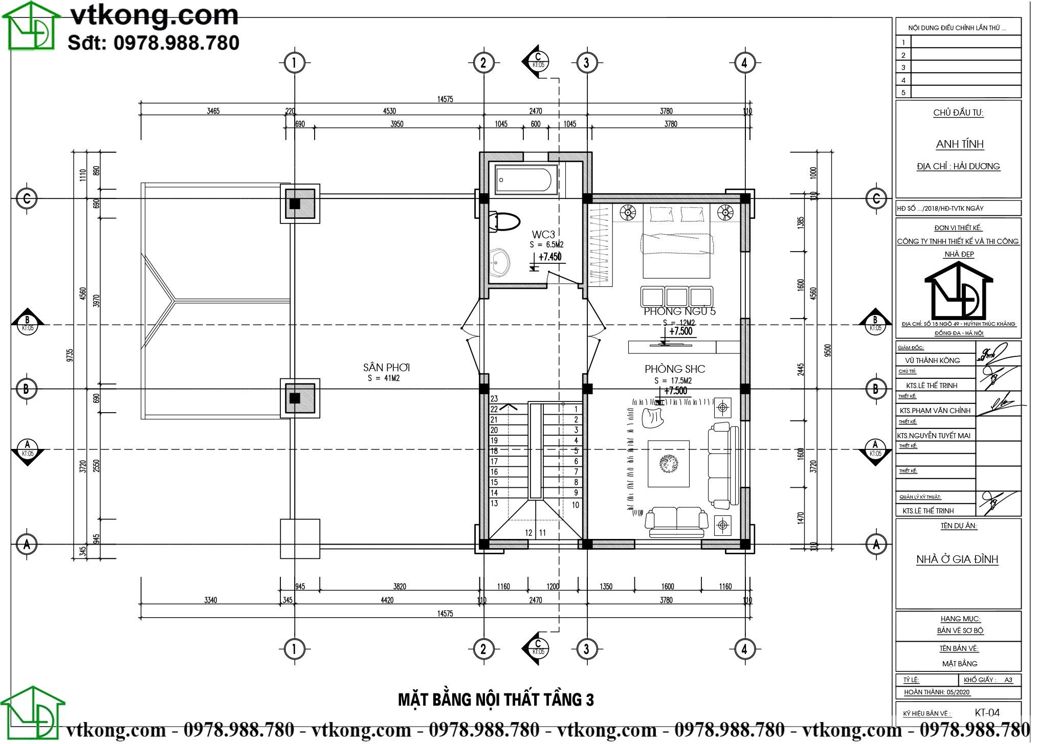 Mẫu biệt thự tân cổ điển 3 tầng mặt tiền 8m diện tích 330m2 sang trọng BT3T007 4