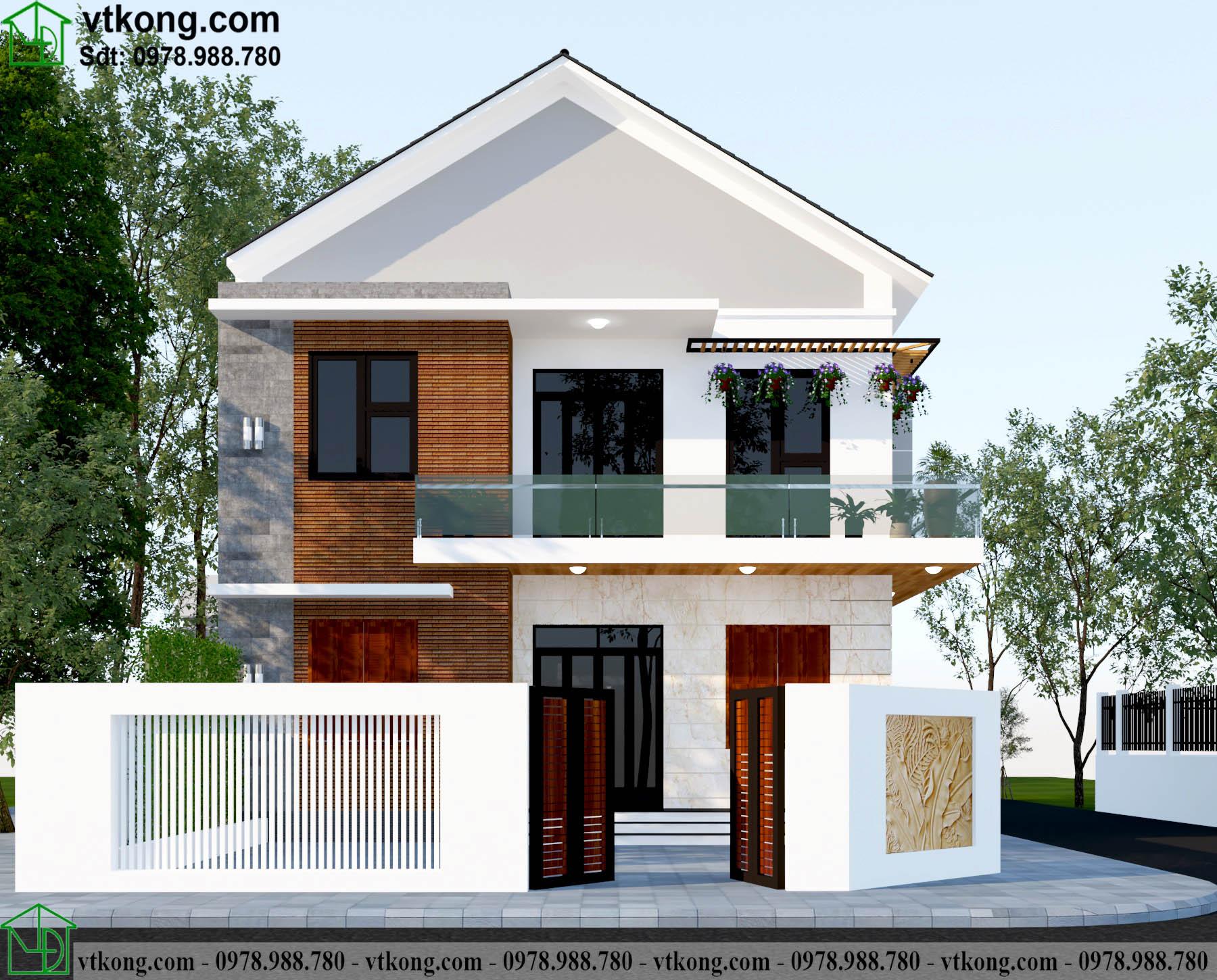 Thiết kế nhà 100m2 có sân vườn đẹp 2 tầng phong cách hiện đại BT2T58