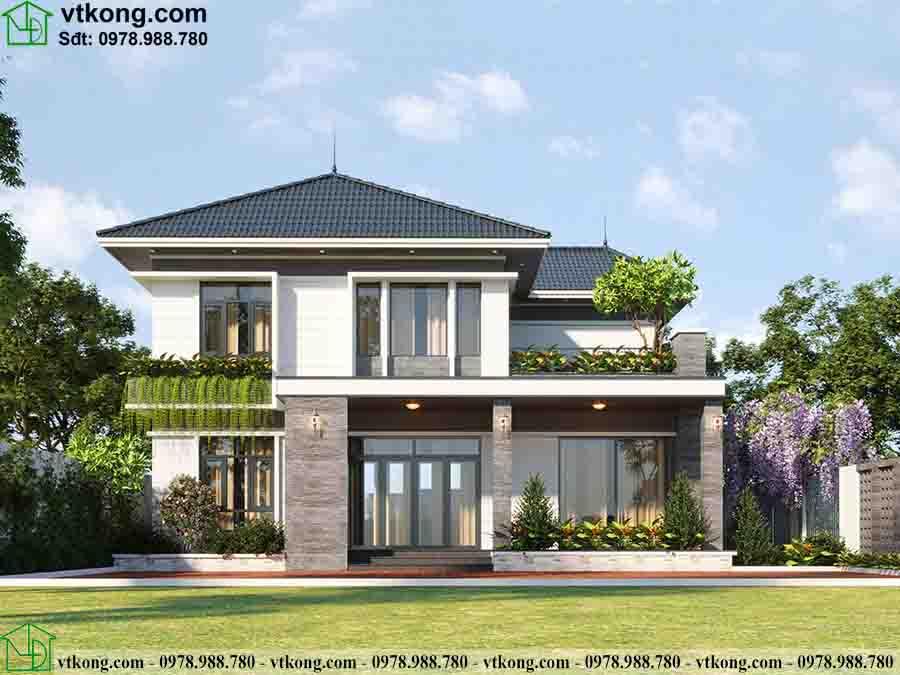 Hình ảnh 3D mẫu thiết kế biệt thự 2 tầng mái Nhật 3 phòng ngủ 13x11m BT2T66