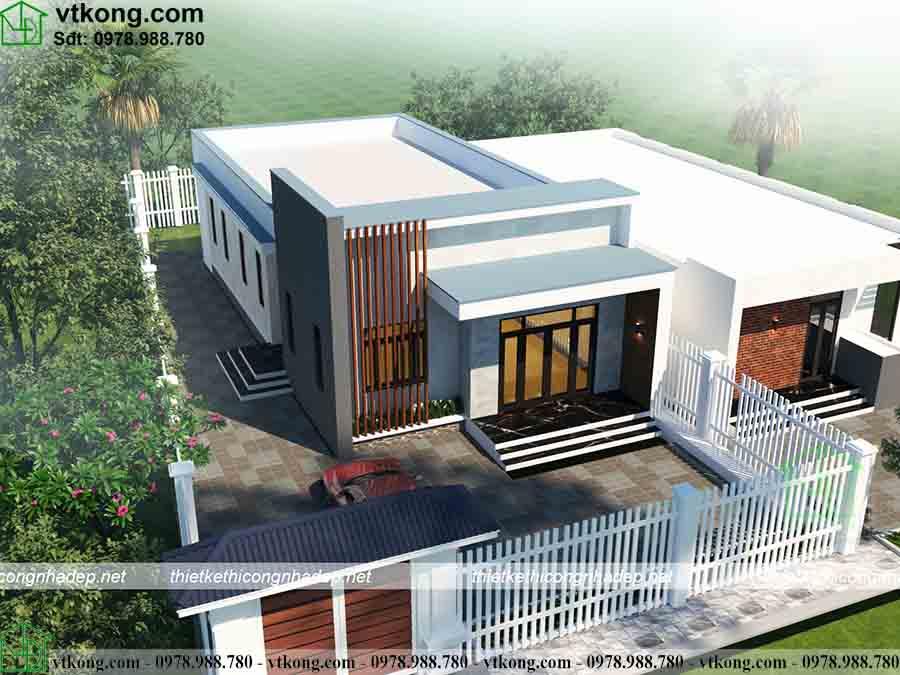 Nhà cấp 4 mái bằng 4 phòng ngủ 9x18m tại Hà Giang NC4115 2