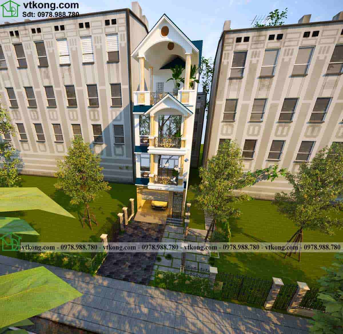 Hình ảnh 3D mẫu thiết kế nhà ống 3 tầng 1 tum NP3T016