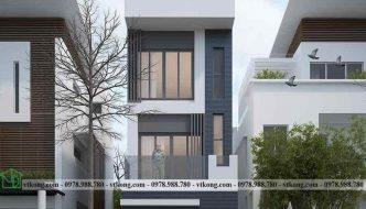 Mẫu thiết kế nhà phố 3 tầng hiện đại có 4 phòng ngủ diện tích 4x12m NP3T018