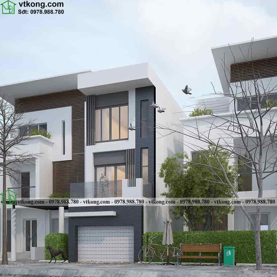 Phối cảnh góc nghiêng mẫu nhà phố 3 tầng mái bằng 4x12m NP3T018