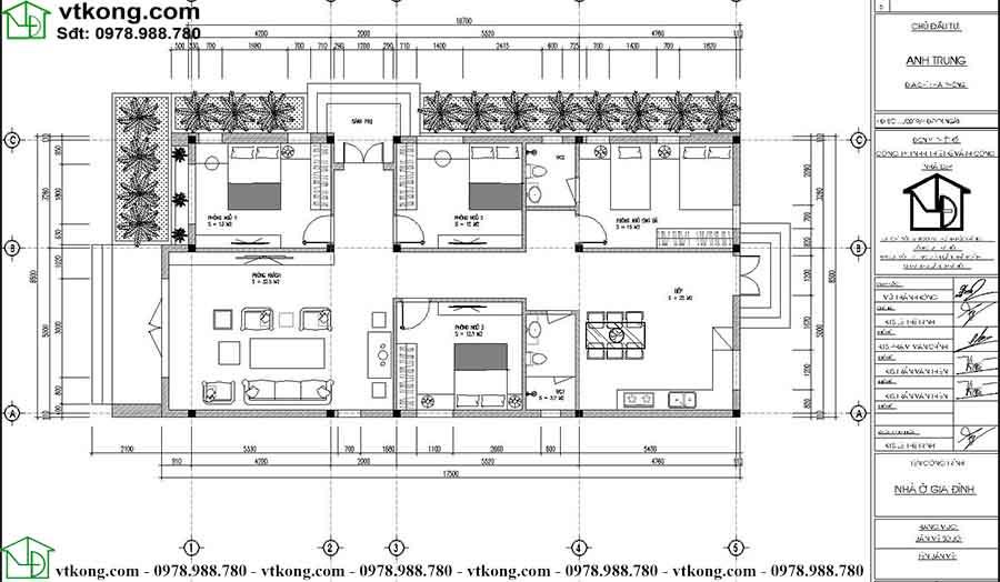 Nhà cấp 4 mái bằng 4 phòng ngủ 9x18m tại Hà Giang NC4115 4