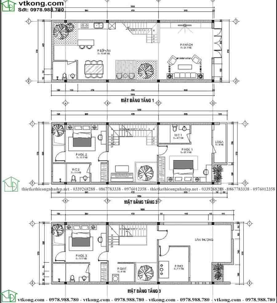 Mặt bằng công năng mẫu nhà ống 3 tầng hiện đại NP3T020