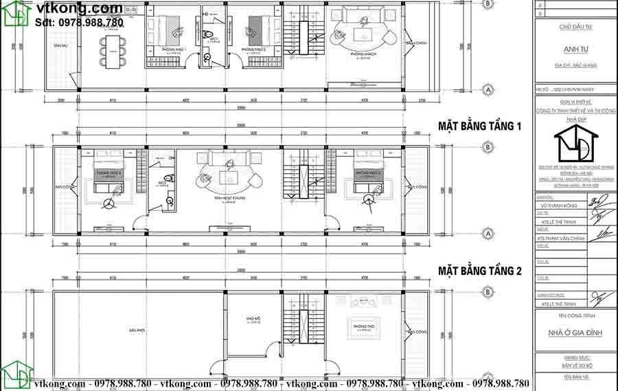 Mặt bằng công năng mẫu nhà ống 3 tầng diện tích 5.5x20m NP3T023