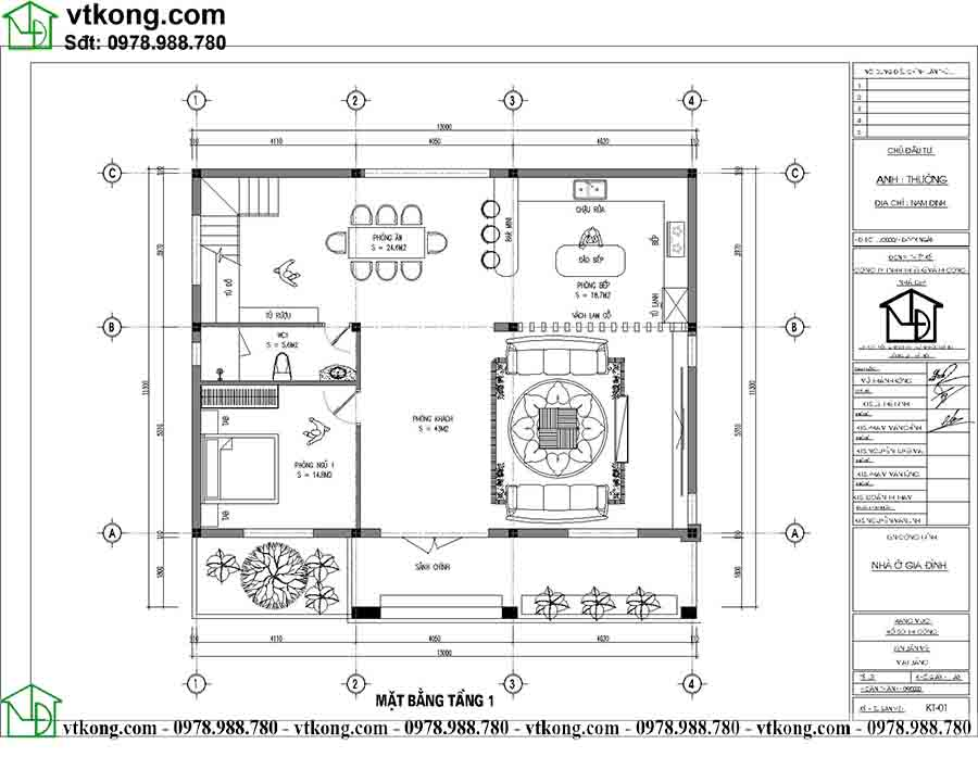 Công năng sử dụng tầng 1 mẫu biệt thự 2 tầng mái Nhật BT2T66