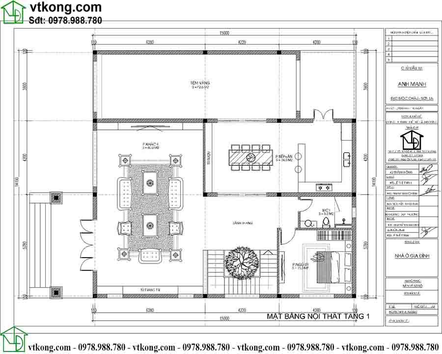 Mặt bằng công năng tầng 1 mẫu biệt thự 2 tầng mái Nhật 9x16m BT2T65