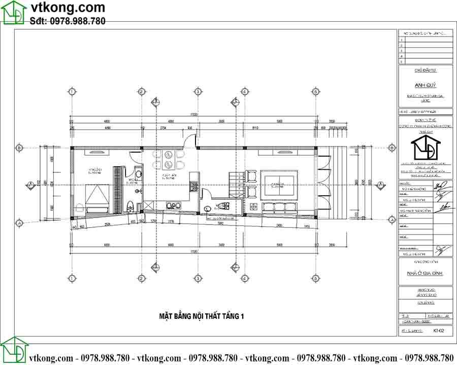 Công năng sử dụng tầng 1 mẫu nhà ống 3 tầng 5x17m NP3T024