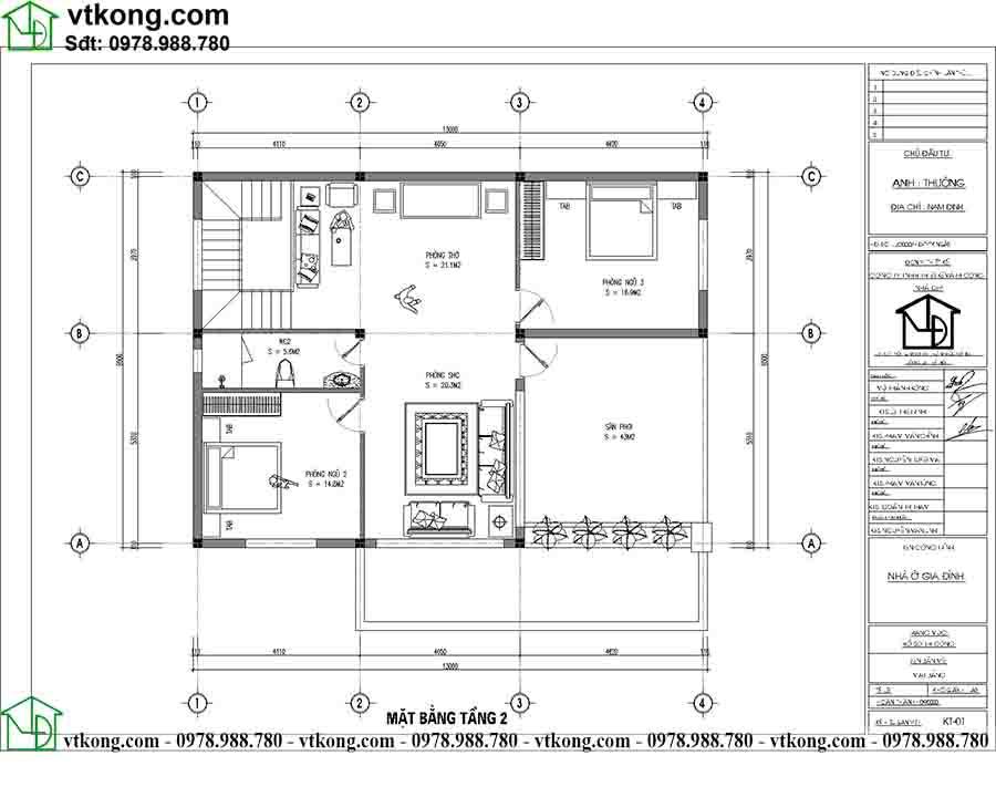 Công năng sử dụng tầng 2 mẫu biệt thự 2 tầng diện tích 13x11m BT2T66