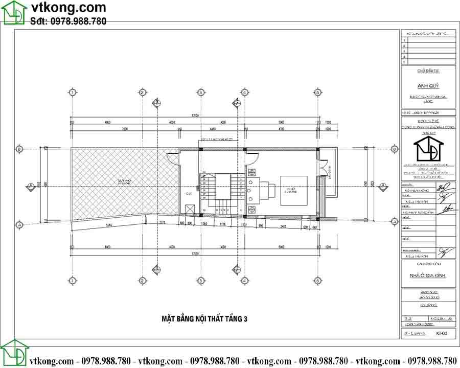 Mặt bằng công năng tầng 3 mẫu nhà ống 3 tầng 5x17m NP3T024