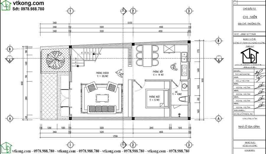 Mặt bằng công năng tầng 1 mẫu nhà ống 3 tầng diện tích 6x10m NP3T025